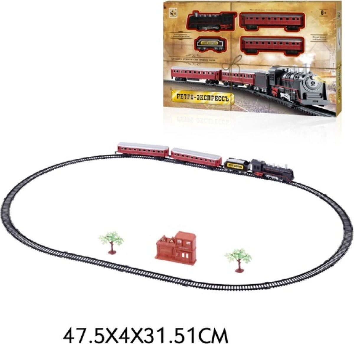 Железная дорога 1TOY Ретро Экспресс Паровоз и 3 вагона, Т10147