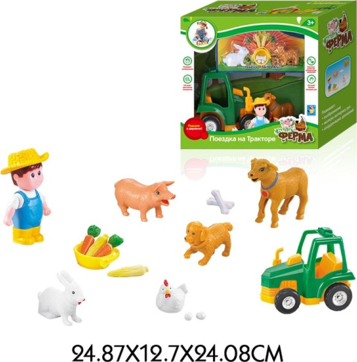 Игровой набор 1TOY Наша ферма Поездка на тракторе, фермер, зверюшки, Т11047 цена