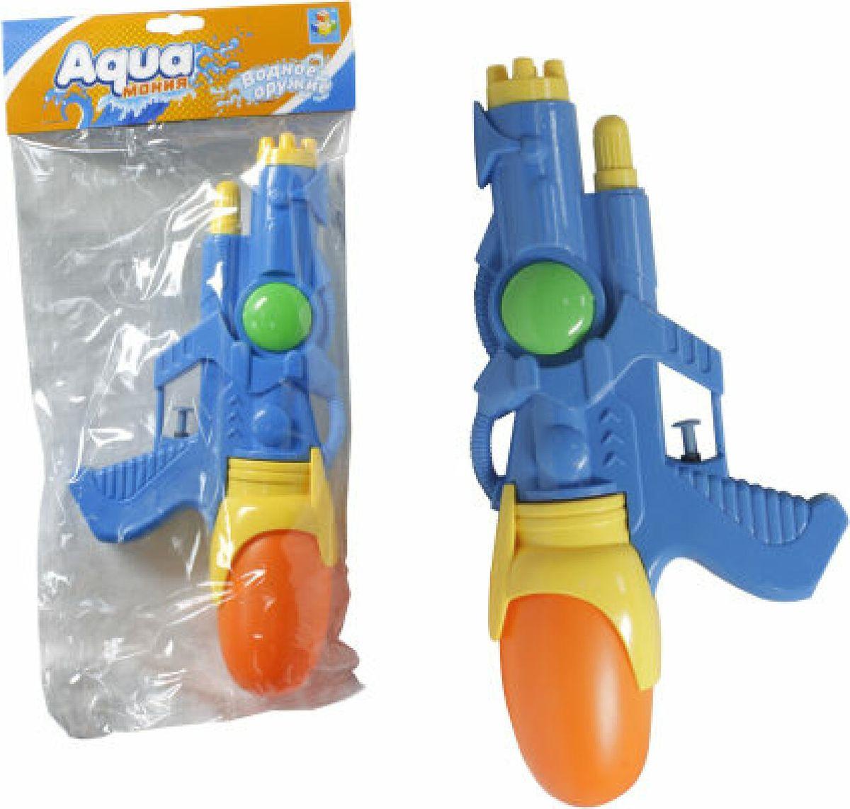 Игрушечное оружие 1TOY Аквамания Водяной бластер, с 2 отверстиями, Т59451, 28 х 14 см, цвет в ассортименте бластер наша игрушка бластер цвет в ассортименте 20112011