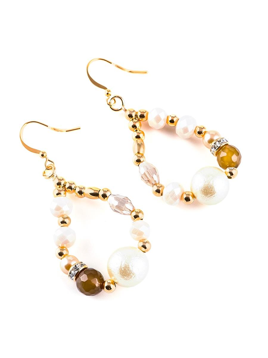 Серьги бижутерные Elizabeth 20110260, Кристаллы Swarovski, золотой, коричневый, розовый