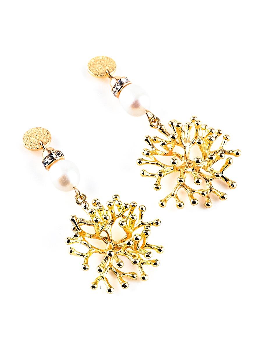 Серьги бижутерные Elizabeth 20110280, Кристаллы Swarovski, белый, золотой