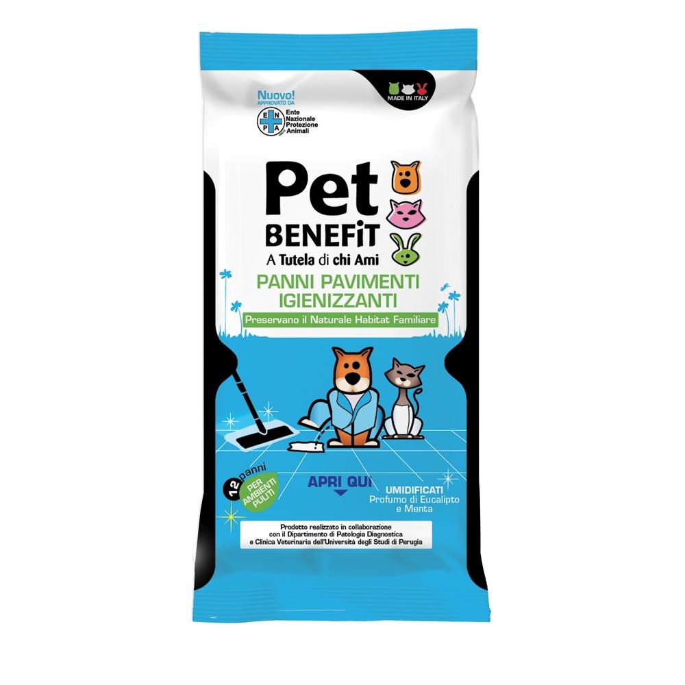 Влажные салфетки для животных Pet Benefit Очищающие влажные салфетки PANNI PAVIMENTI для уборки за животными, 12 шт/уп полотенца для животных triol салфетки рукавицы влажные для животных уп 5шт