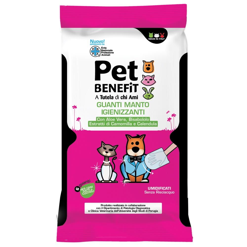 Влажные салфетки для животных Pet Benefit Очищающие влажные перчатки Pet Benfit GUANTI MANTO IGIENIZZANTI для ухода за шерстью, 6 шт/уп салфетки для ухода за шерстью собак тедди петс 25 шт