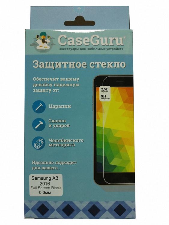 Защитное стекло Samsung Galaxy A3 (2016 г. черная рамка), черный