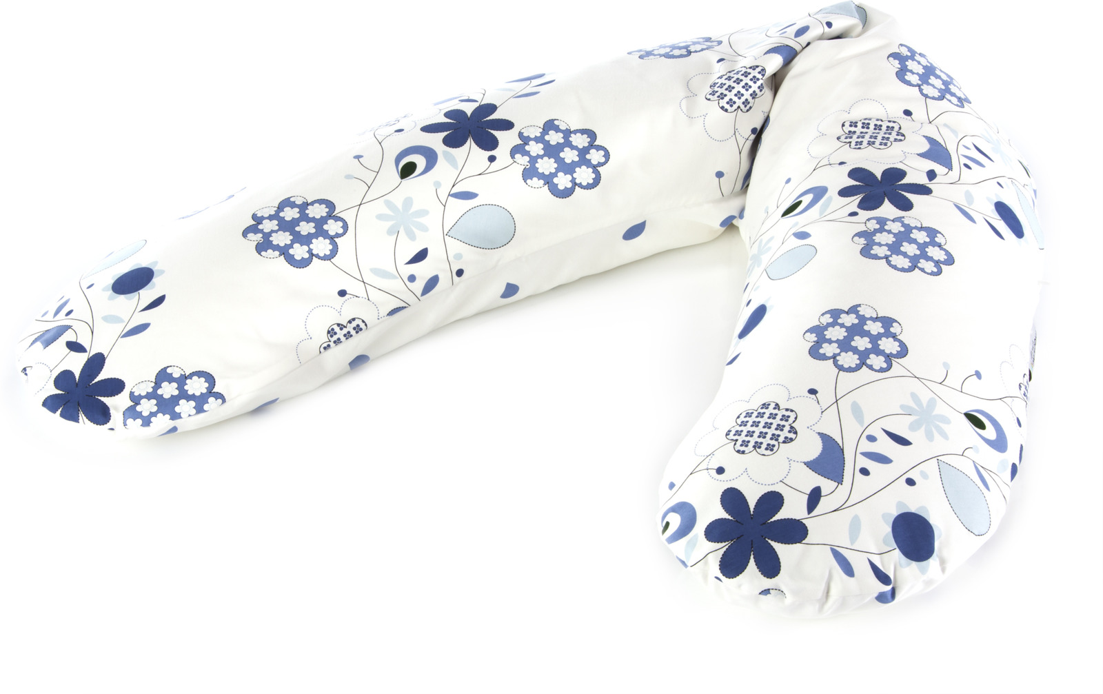 """Подушка для беременных и кормящих мам Theraline """"Букет"""", кремовый, синий, 190 см"""