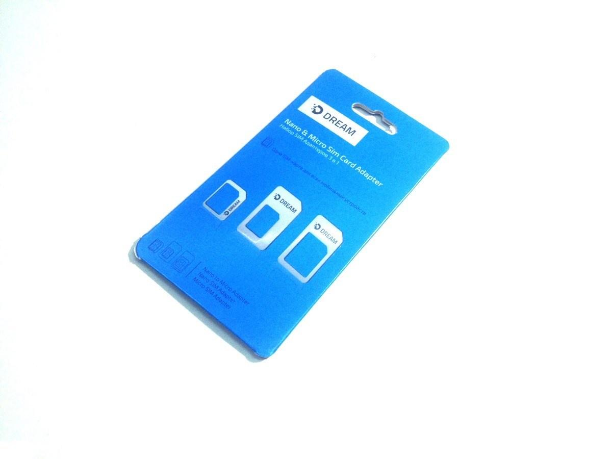 Адаптер-переходник DREAM для sim-карт, черный адаптер для sim карты oem 3pcs 3 1 sim sim sim iphone 6 sim y70 da1174 m5 sim card adapter