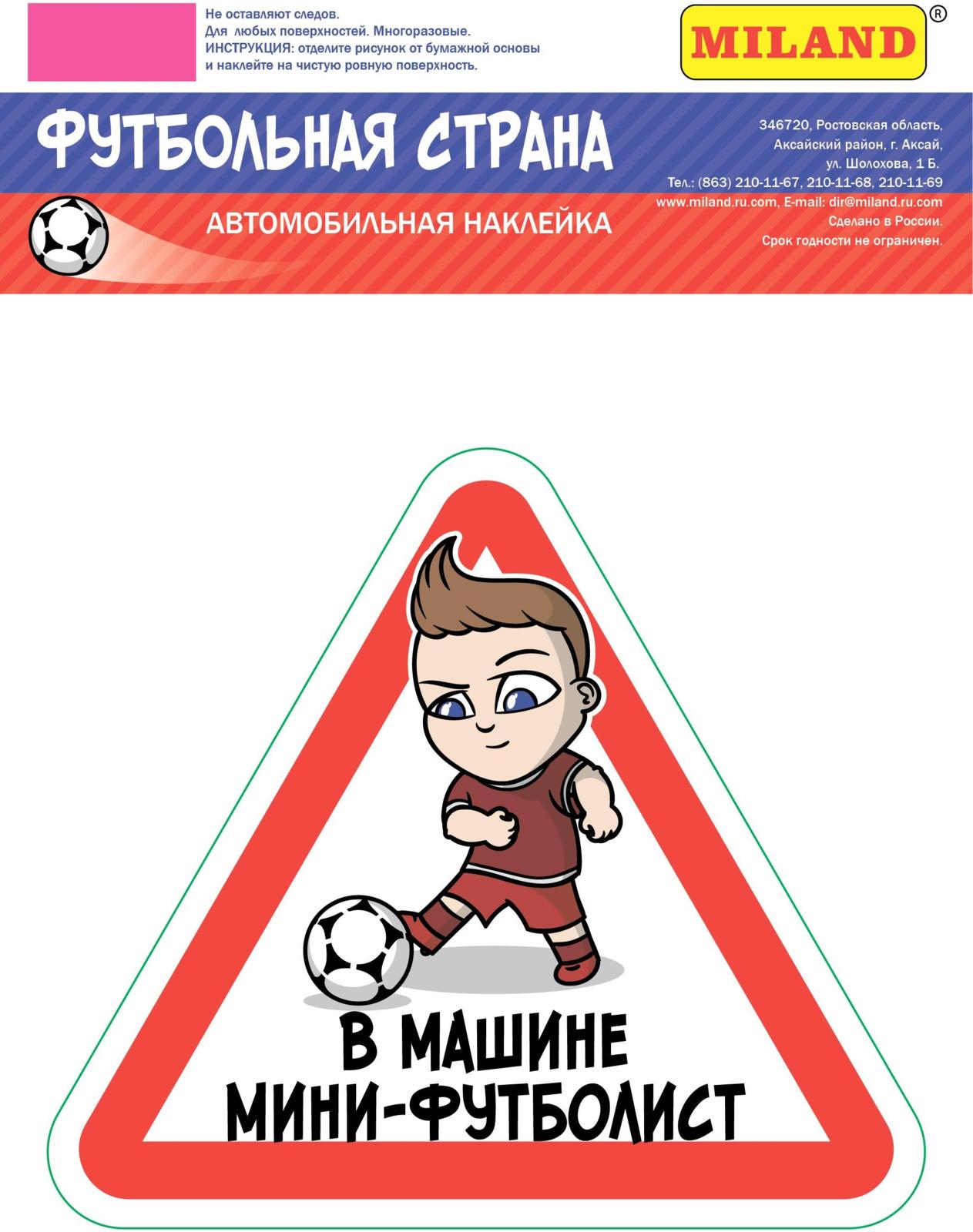"""Наклейка на авто Miland Футбольная страна """"Мини-футболист"""", НА-2490"""