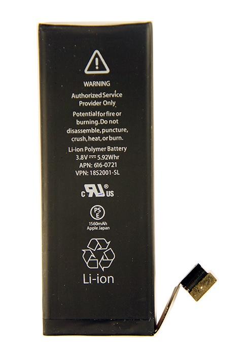 Аккумулятор для телефона Apple iPhone 5S (616-0721) 1560mAh, черный аккумулятор для телефона craftmann для apple iphone 6 с повышенной ёмкостью до 2170 mah 616 0807