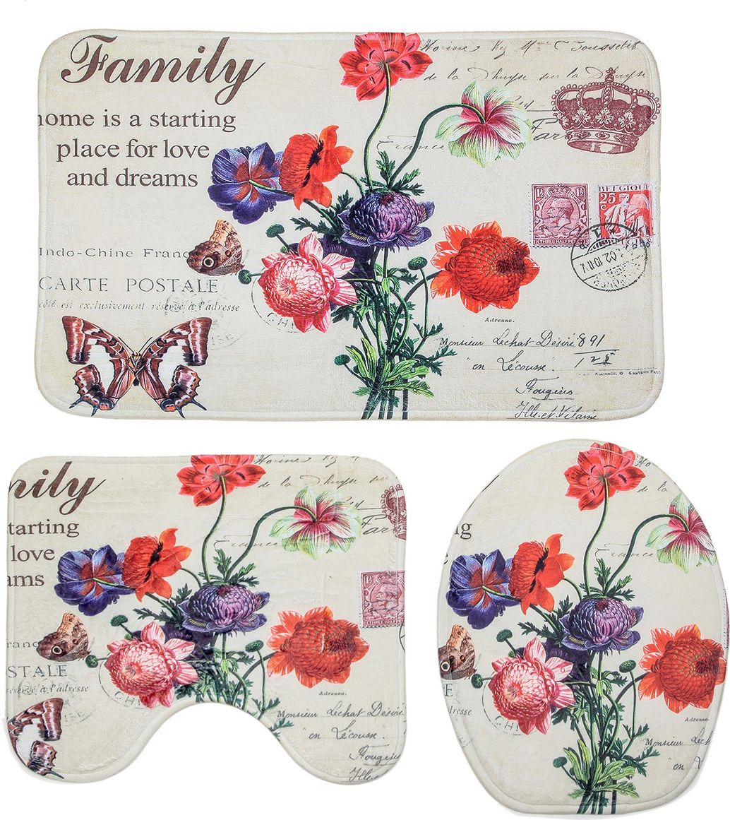 Набор ковриков для ванной Доляна Нежность, 1035802, разноцветный, 3 шт