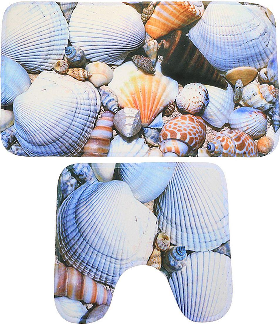 """Набор ковриков для ванной Доляна """"Ракушки"""", 2353311, разноцветный, 2 шт"""