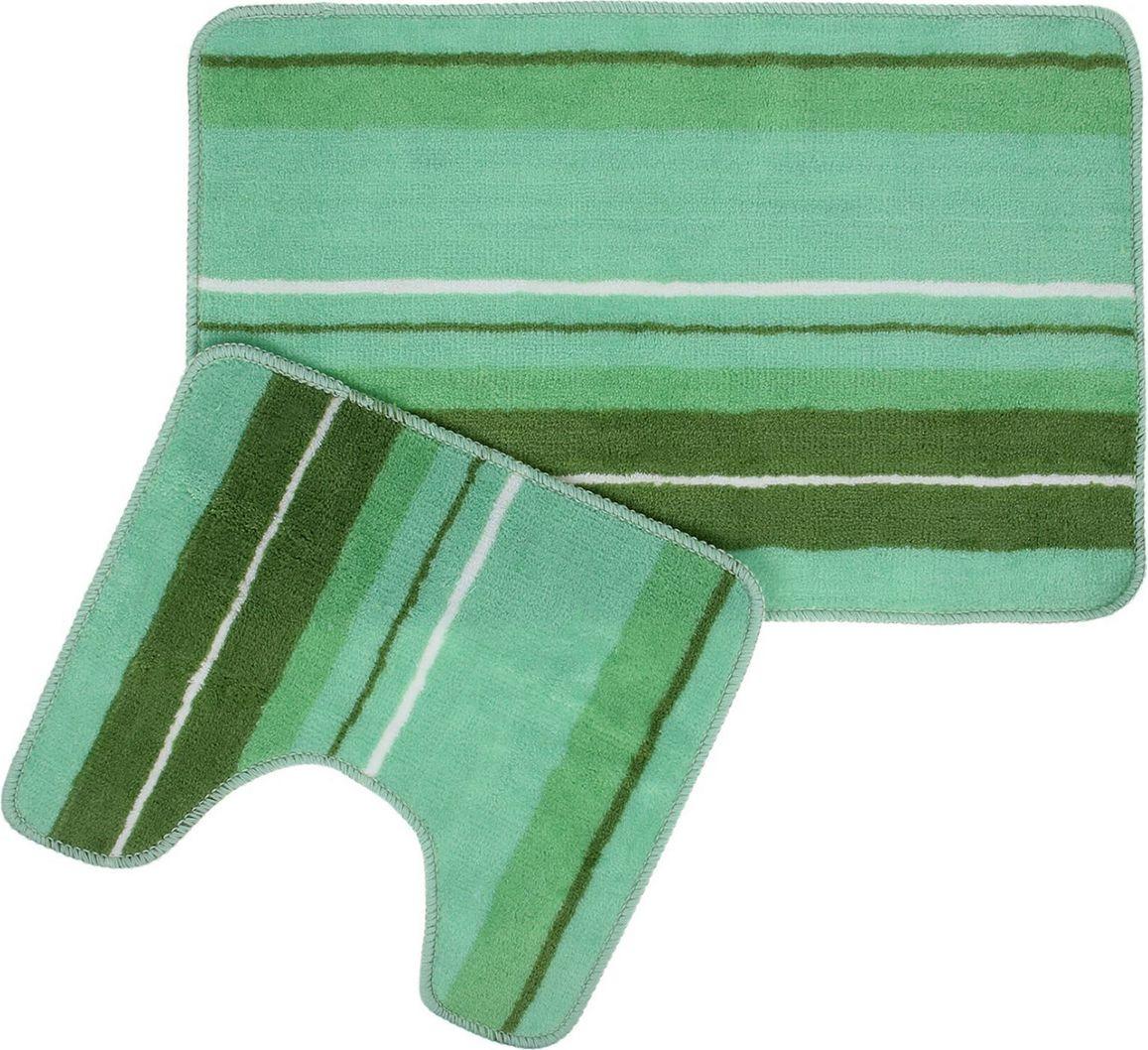 """Набор ковриков для ванной Доляна """"Полоски"""", 1275510, зеленый, 2 шт"""