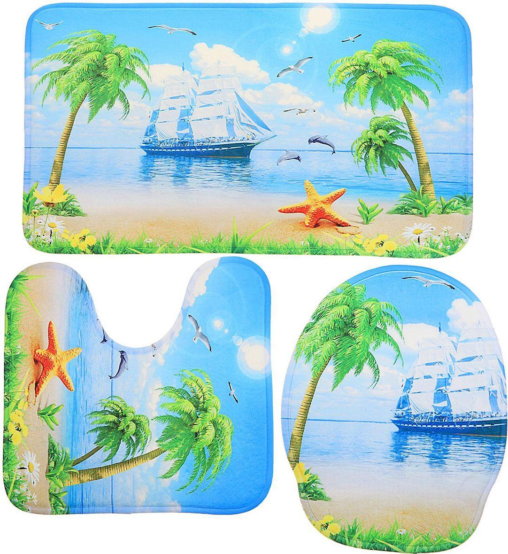 Набор ковриков для ванной Доляна Пляж, 2353315, синий, зеленый, 3 шт коврик для ванной с рисунком clarisse 700 г м²