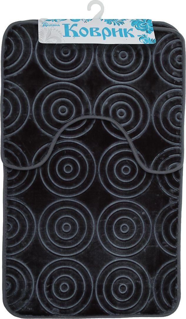 """Набор ковриков для ванной Доляна """"Завитки"""", 2355947, серый, 2 шт"""