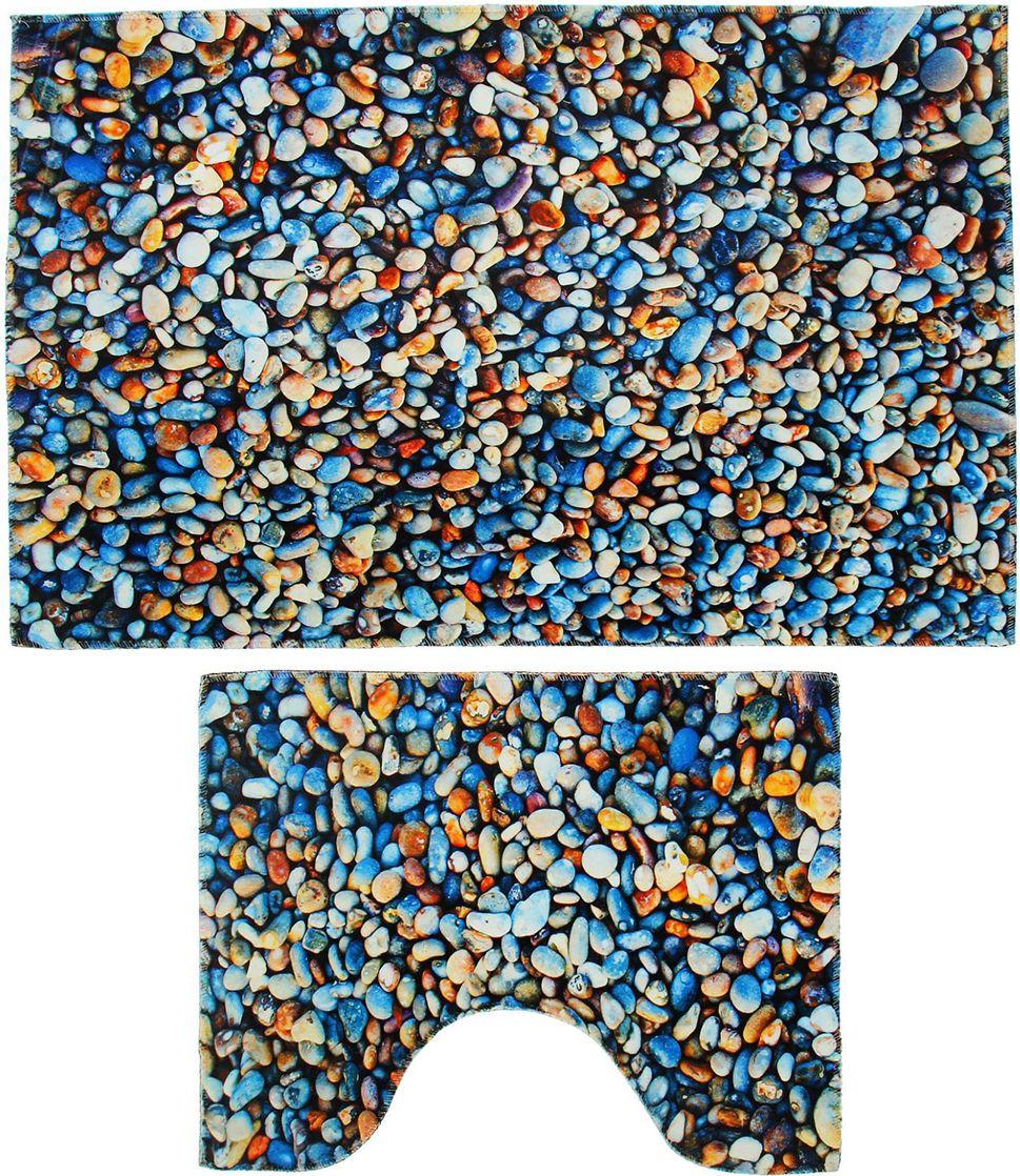 """Набор ковриков для ванной Доляна """"Галька"""", 2355970, разноцветный, 2 шт"""