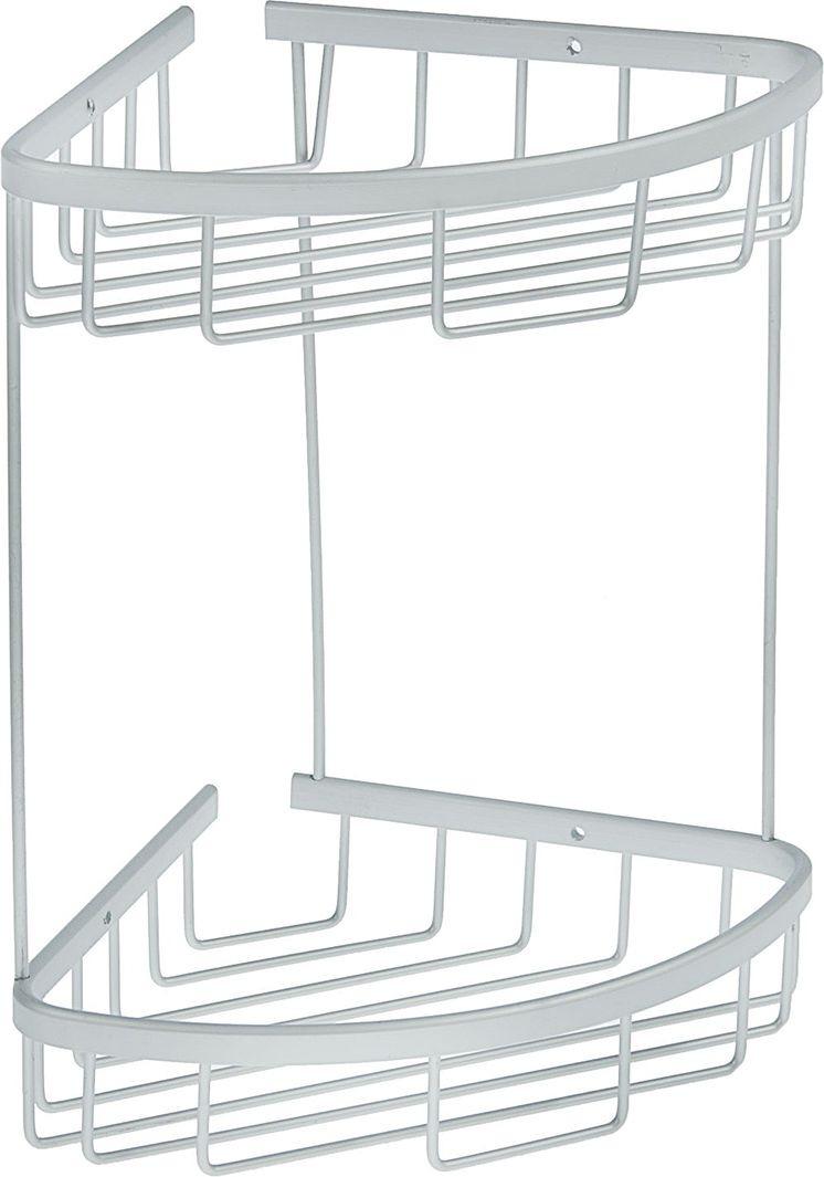 Полка для ванной комнаты, двухярусная, 1498079, серый металлик, 20 х 20 х 30 см