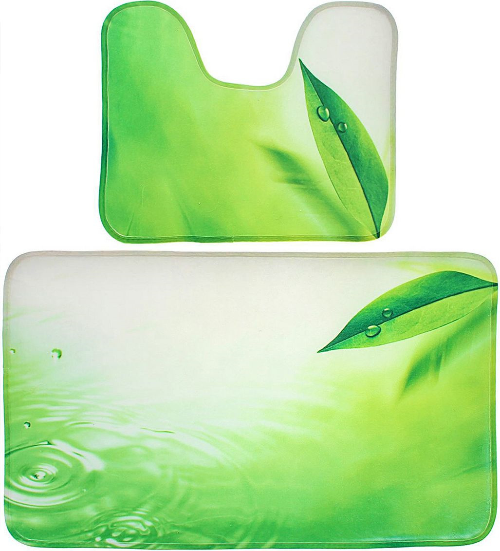 """Набор ковриков для ванной Доляна """"Флора"""", 1515789, зеленый, 2 шт"""