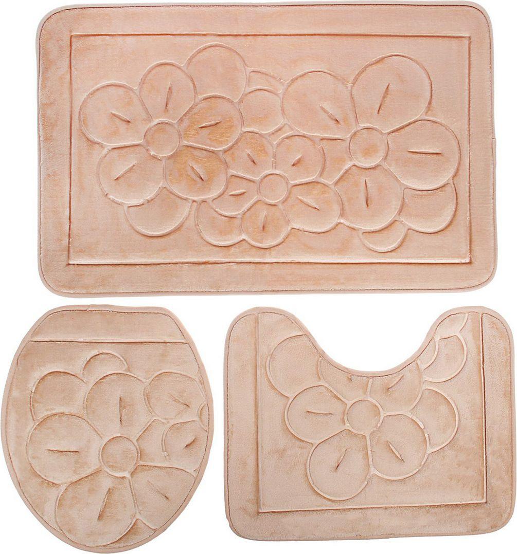 Набор ковриков для ванной Доляна, 1515811, бежевый, 3 шт аксессуары для ванной и туалета luxberry коврик для ванной mahli цвет белый 65х90 см