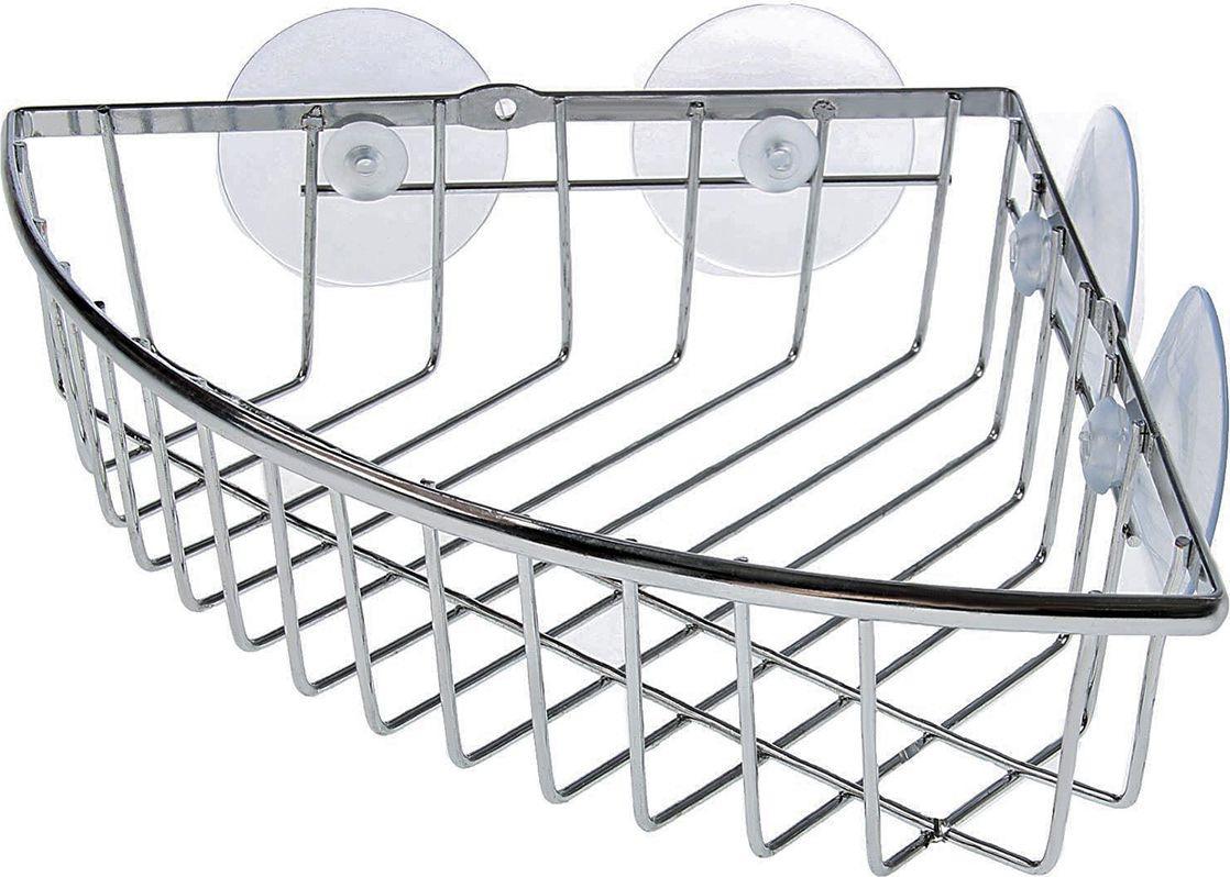 Полка для ванной комнаты Доляна, 1550891, серый металлик, 19 х 19 х 5 см