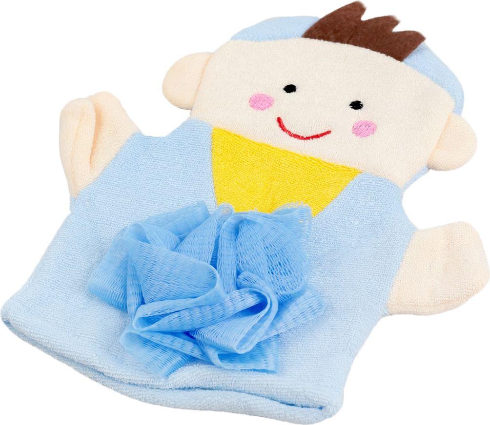 мочалка eva варежка Мочалка-варежка детская Доляна Мальчик, 2515984, голубой