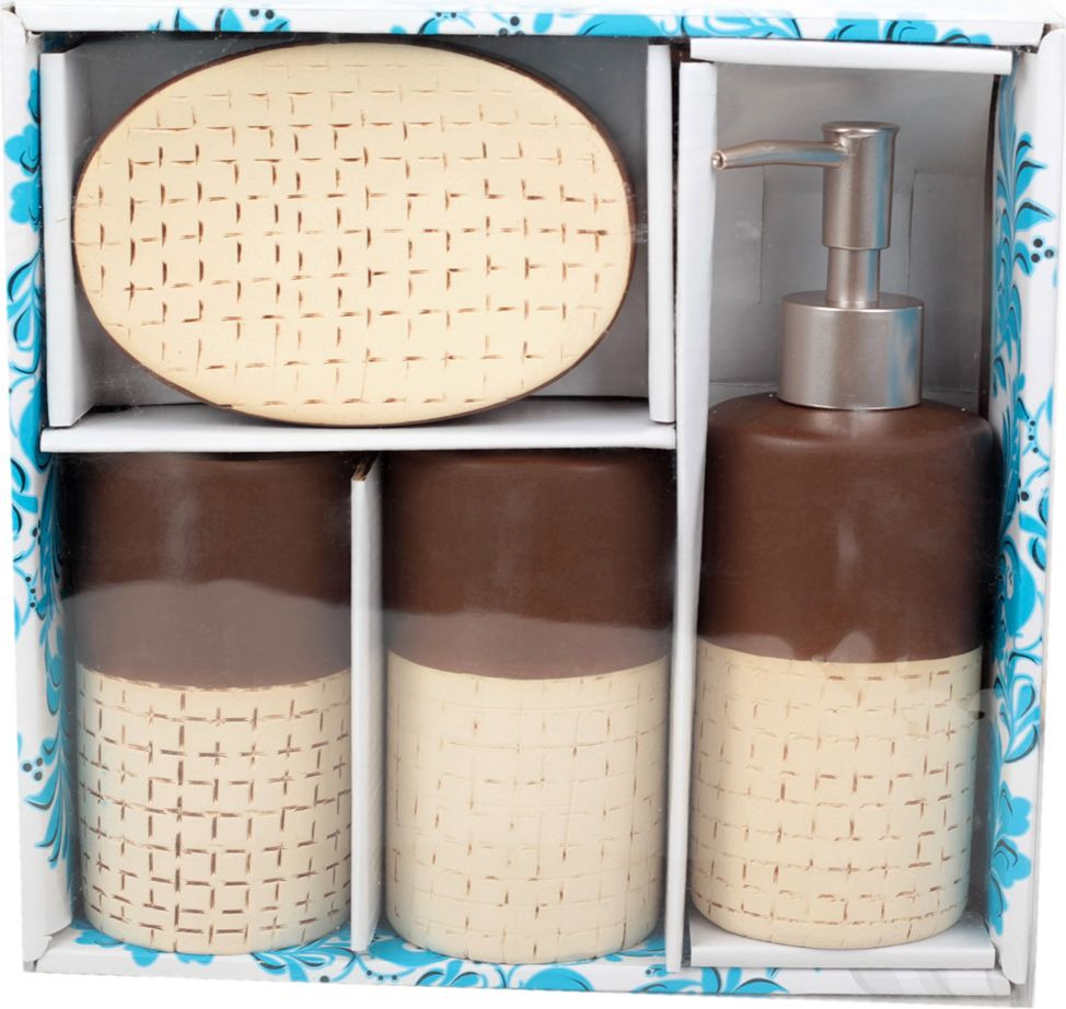 "Набор для ванной комнаты Доляна ""Молочный шоколад"", 1580164, белый, 4 предмета"