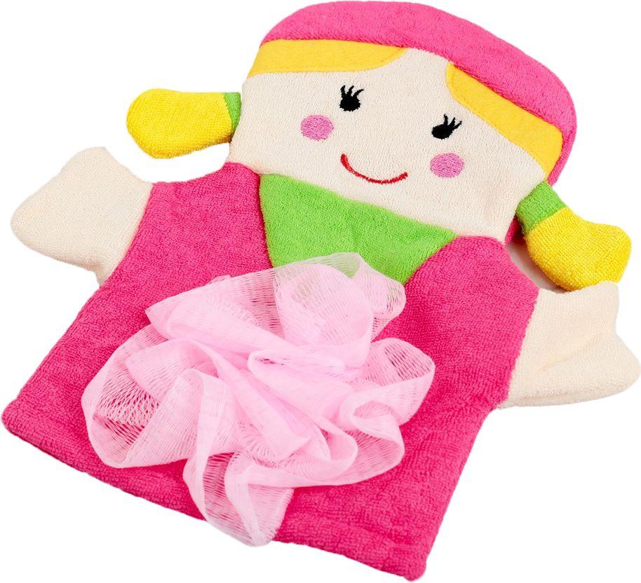 мочалка eva варежка Мочалка-варежка детская Доляна Девочка, 2515985, розовый