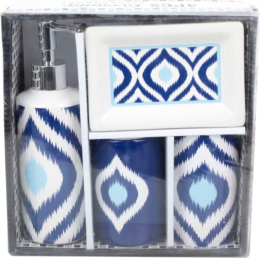 """Набор для ванной комнаты """"Орнамент"""", 2522882, синий, 4 предмета"""
