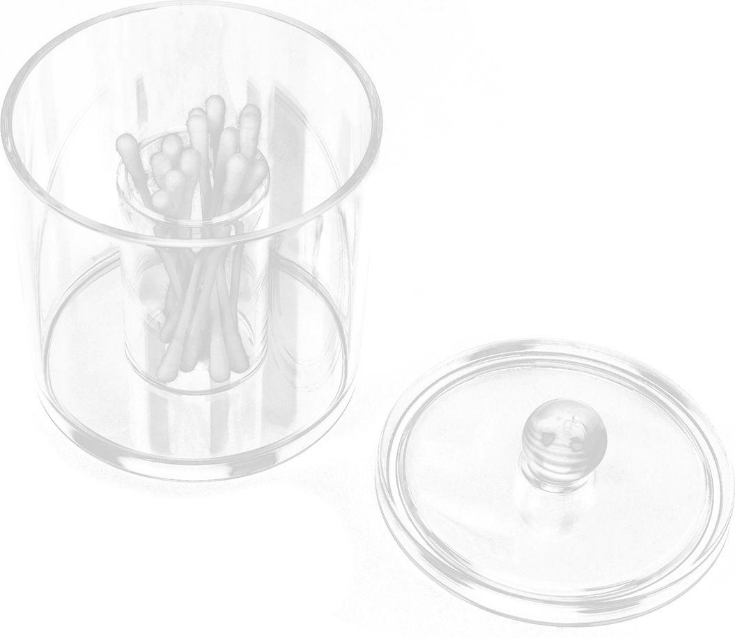 Контейнер для ватных палочек, 2565943, прозрачный, 13 х 9,3 х 9,3 см цены
