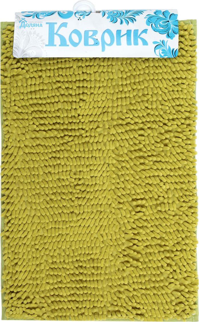 Коврик для ванной Доляна Букли длинные, 2582161, зеленый, 40 х 60 см