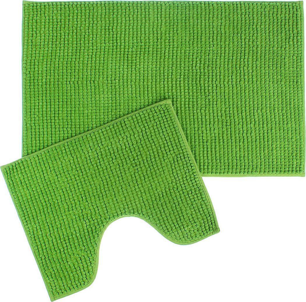 """Набор ковриков для ванной Доляна """"Букли"""", 2582163, зеленый, 2 шт"""