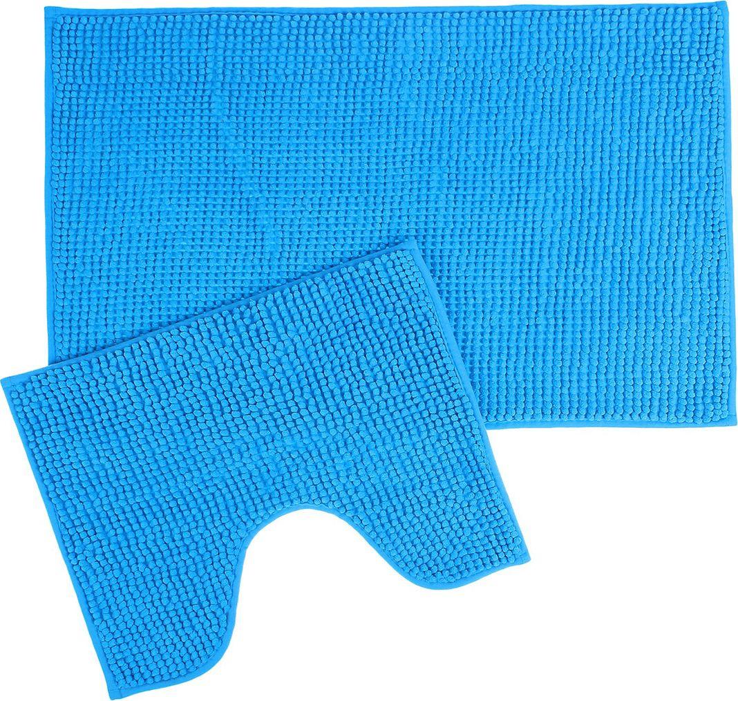 """Набор ковриков для ванной Доляна """"Букли"""", 2582165, синий, 2 шт"""