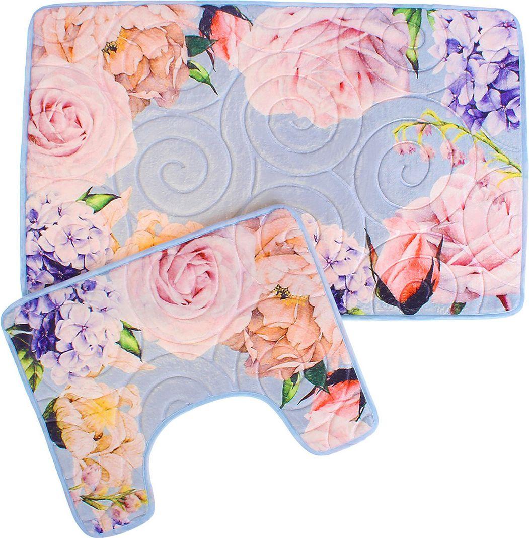 """Набор ковриков для ванной Доляна """"Розы на голубом"""", 2583138, разноцветный, 2 шт"""