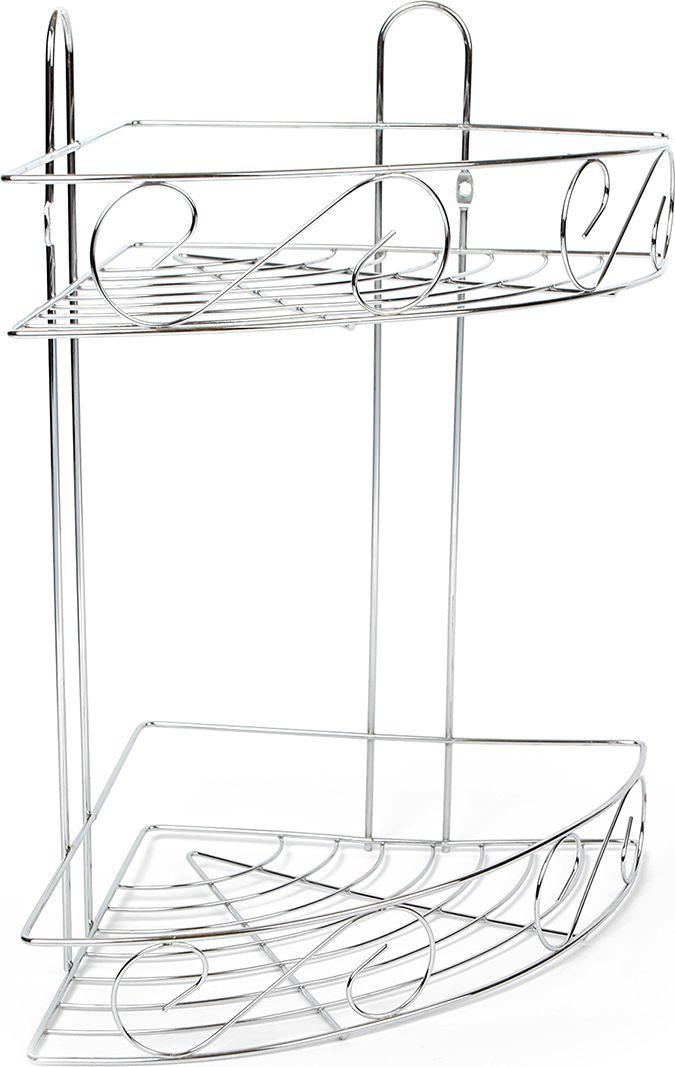 Полка для ванной комнаты Доляна Завитки, двухярусная, 2812988, серый металлик, 20,5 х 20,5 х 33,5 см полка для ванной комнаты hiba