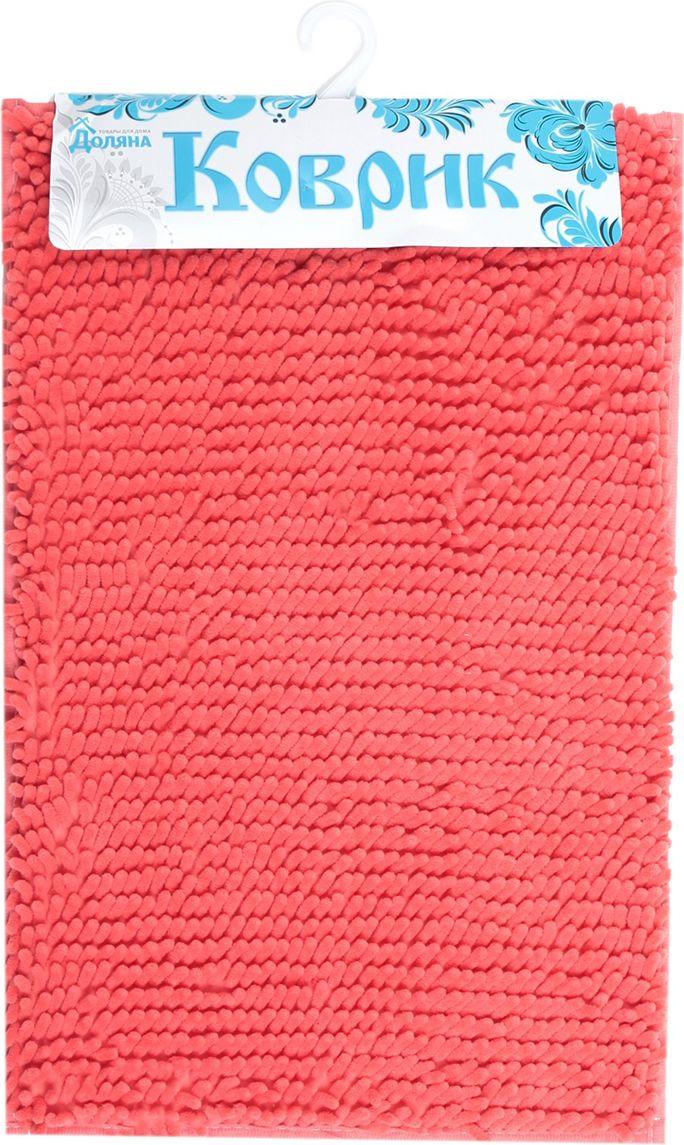 Коврик для ванной Доляна Букли длинные, 3092753, розовый, 40 х 60 см