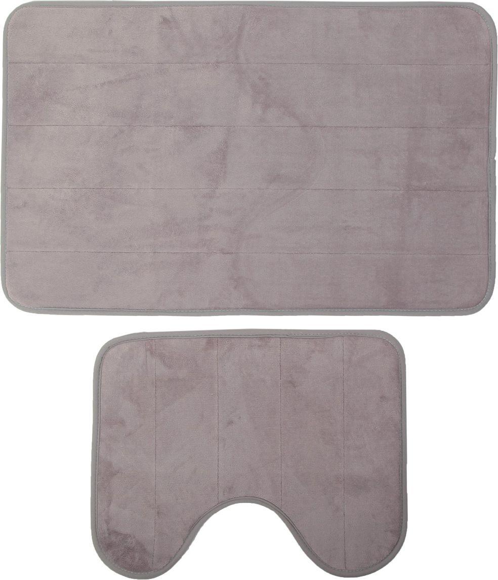 Набор ковриков для ванной Доляна, 2857268, серый, 2 шт