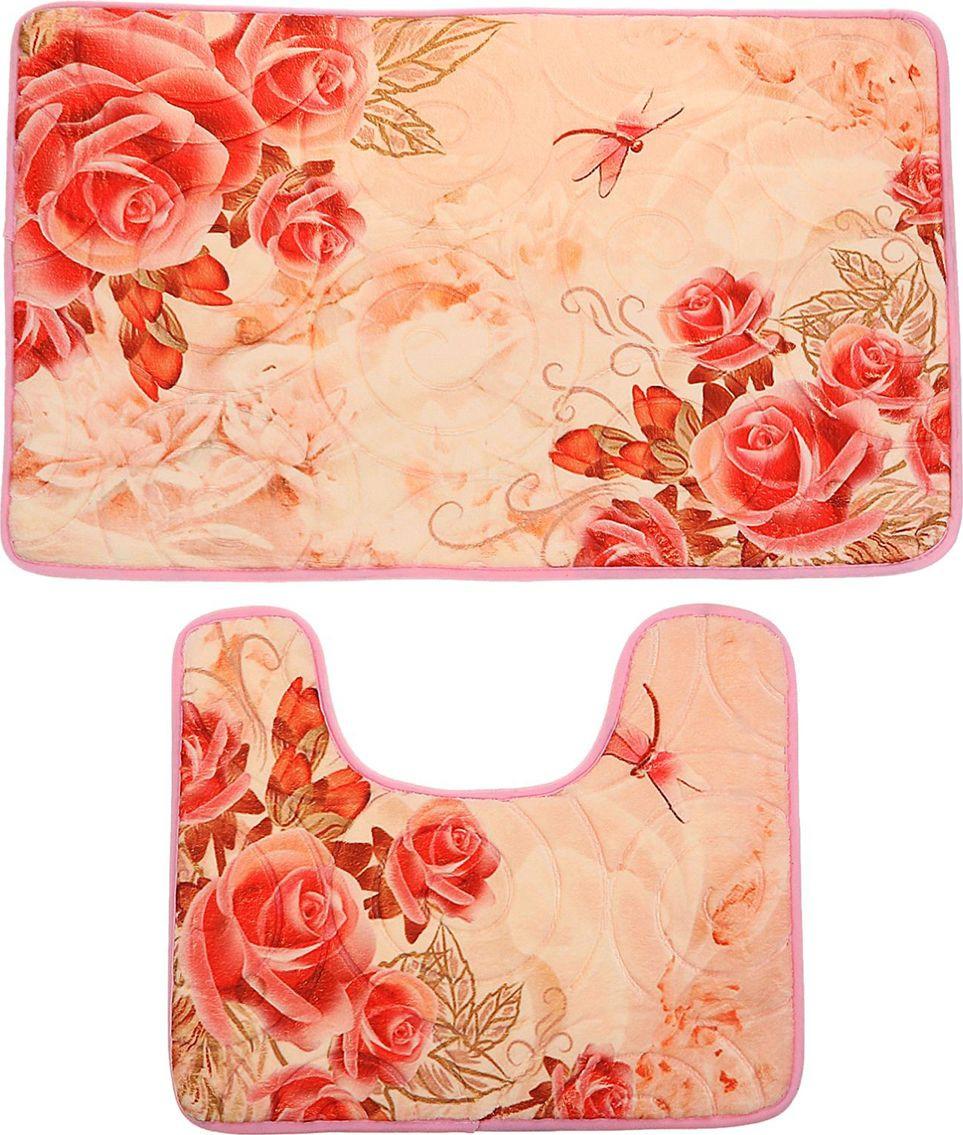 """Набор ковриков для ванной Доляна """"Роза беж"""", 2353217, розовый, бежевый, 2 шт"""