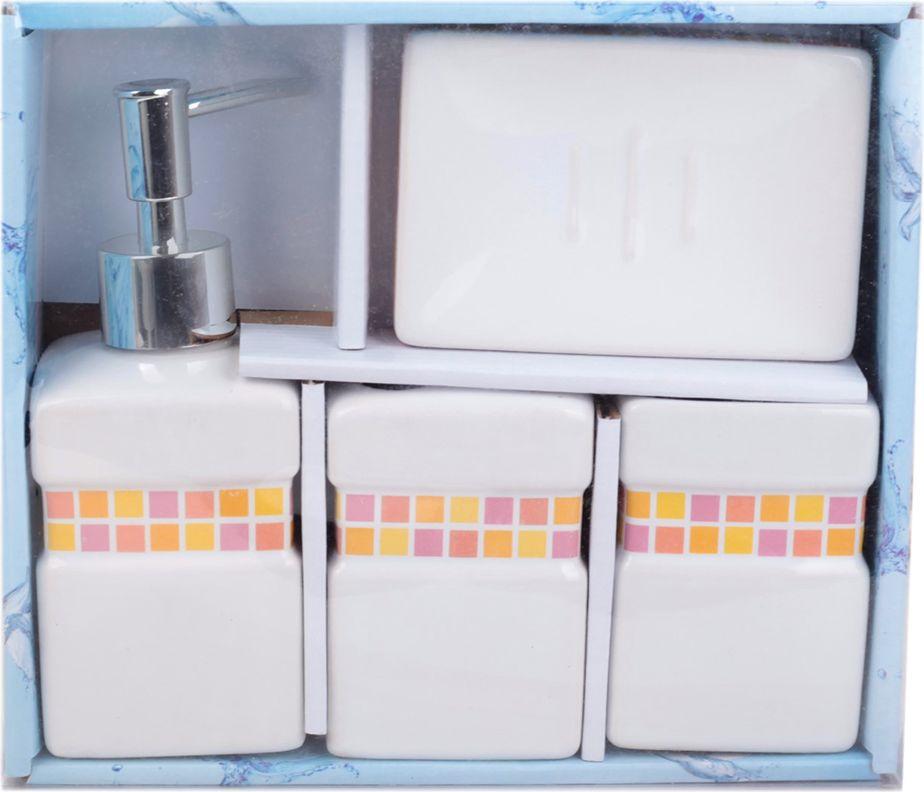 Набор для ванной комнаты Плитка, 2913878, белый, оранжевый, 4 предмета набор ножей calve цвет оранжевый белый 3 предмета cl 3106