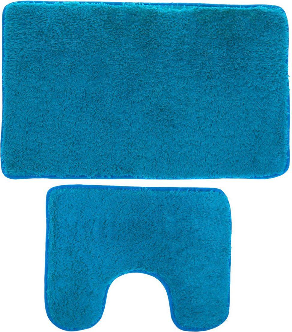 Набор ковриков для ванной Доляна, 2353253, голубой, 2 шт