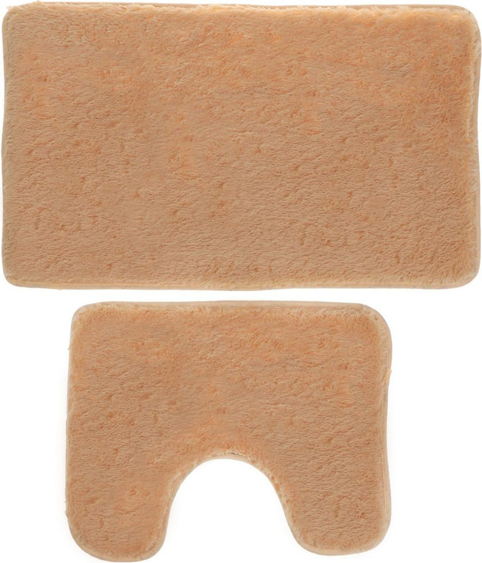 Набор ковриков для ванной Доляна, 2353254, бежевый, 2 шт