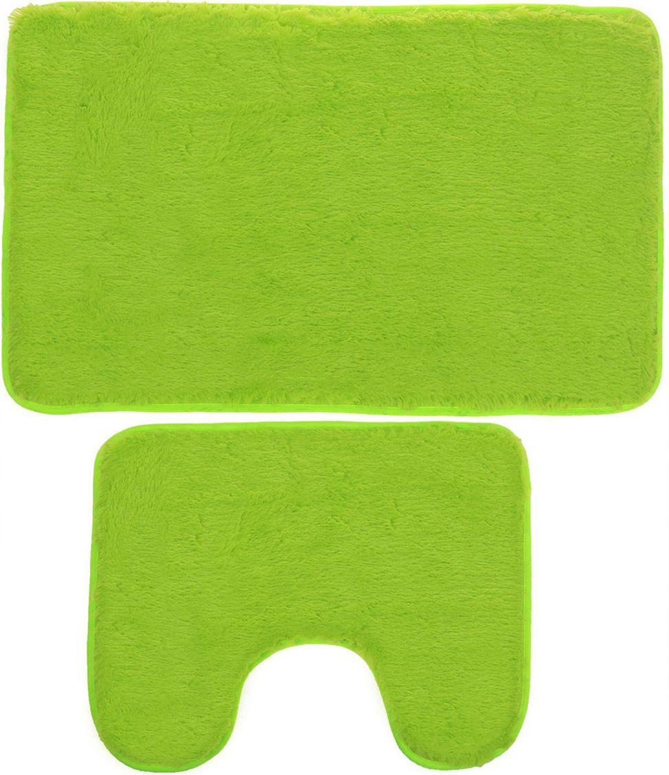 Набор ковриков для ванной Доляна, 2353255, зеленый, 2 шт