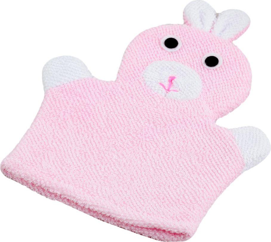 мочалка eva варежка Мочалка-варежка детская Доляна Зайка, 578731, розовый