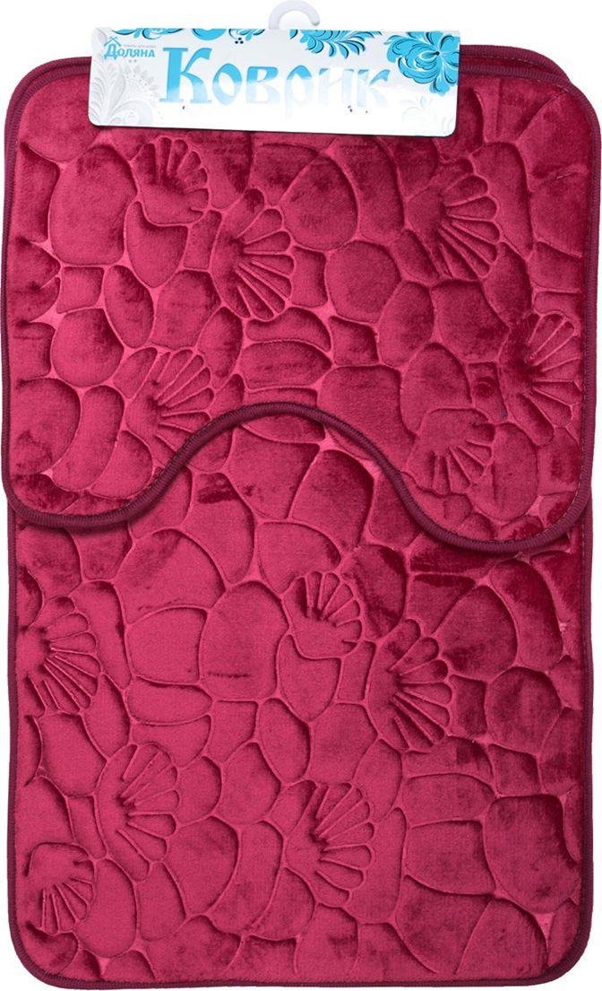 """Набор ковриков для ванной Доляна """"Галька ракушки"""", 2987264, разноцветный, 2 шт"""