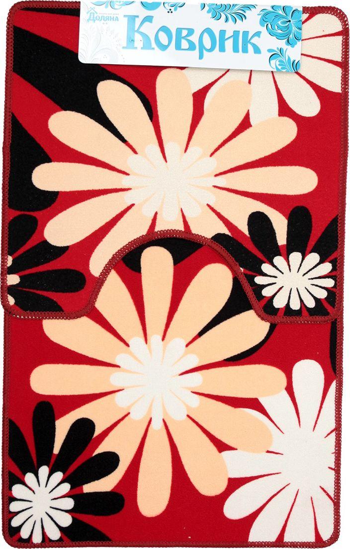 """Набор ковриков для ванной Доляна """"Цветы"""", 2987277, разноцветный, 2 шт"""