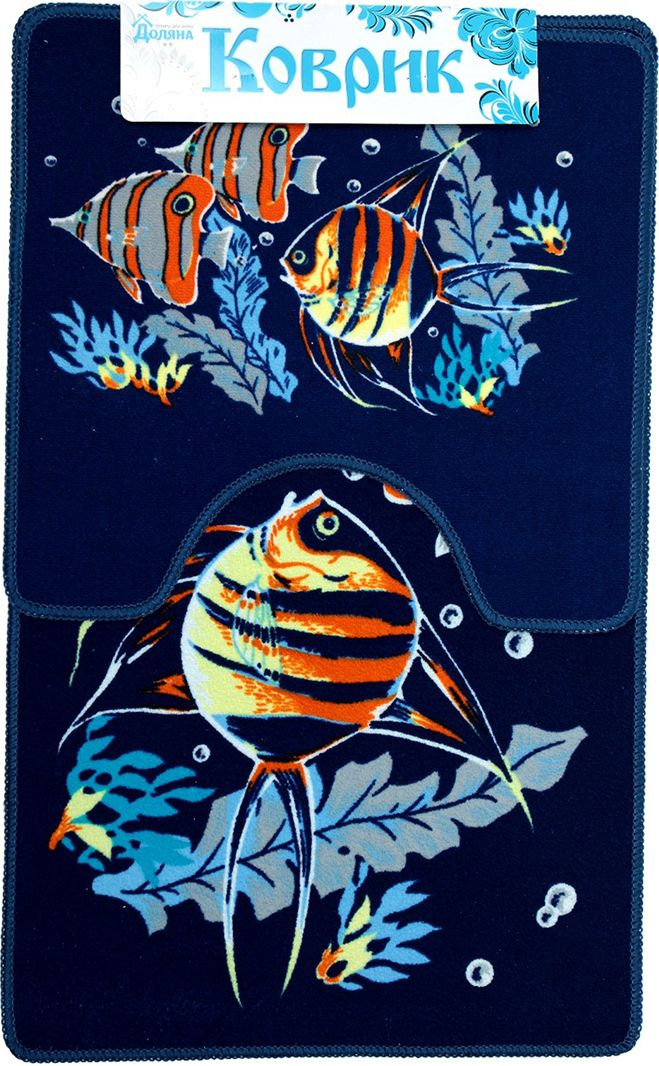 """Набор ковриков для ванной Доляна """"Подводный мир"""", 2987279, разноцветный, 2 шт"""