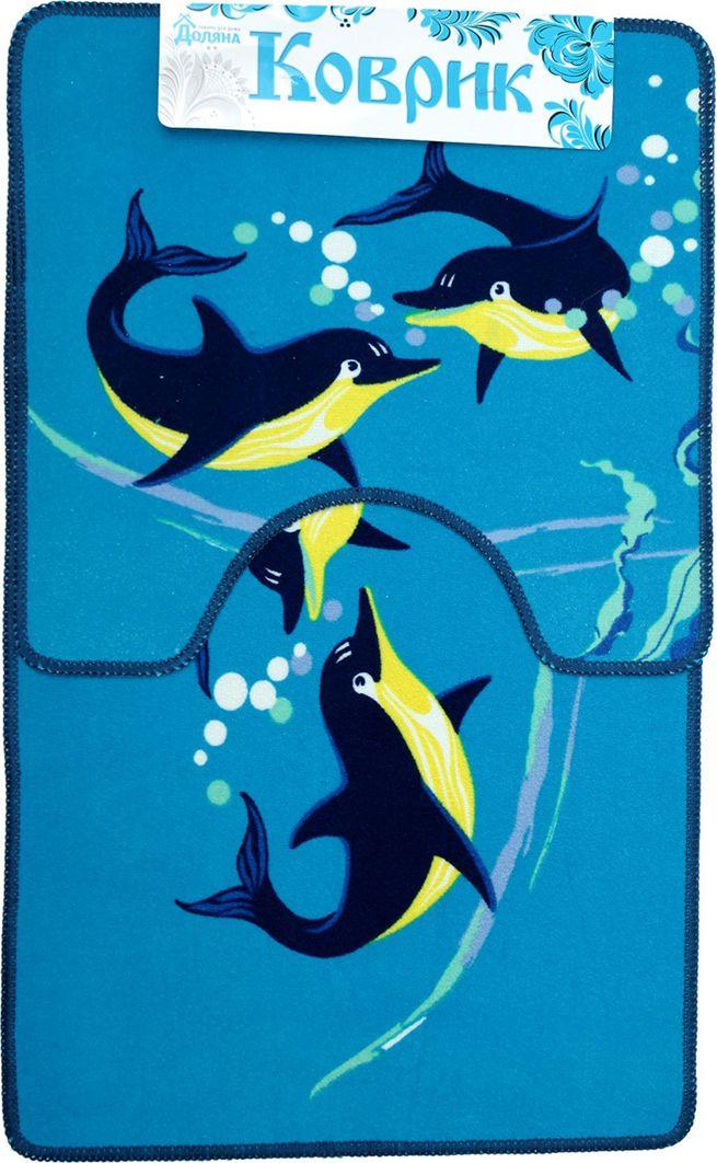 """Набор ковриков для ванной Доляна """"Дельфины"""", 2987280, разноцветный, 2 шт"""