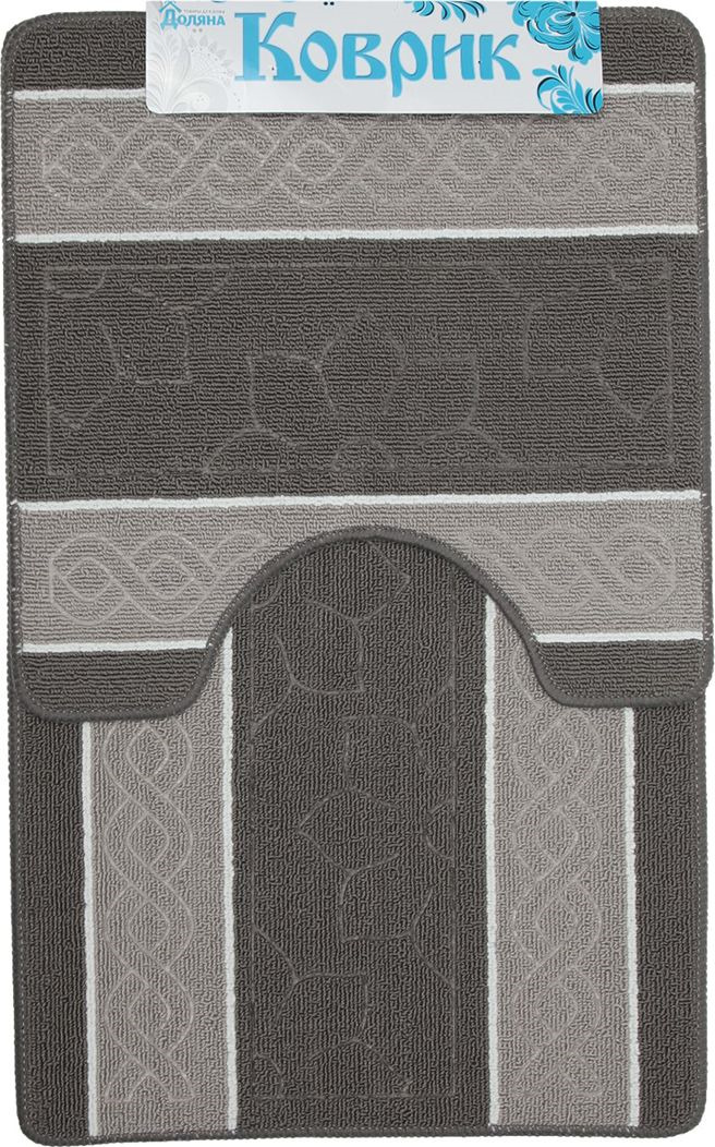 """Набор ковриков для ванной Доляна """"Полосатый"""", 2987284, серый, 2 шт"""