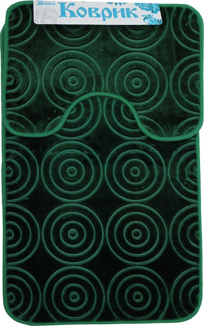 """Набор ковриков для ванной Доляна """"Завитки"""", 2987287, зеленый , 2 шт"""