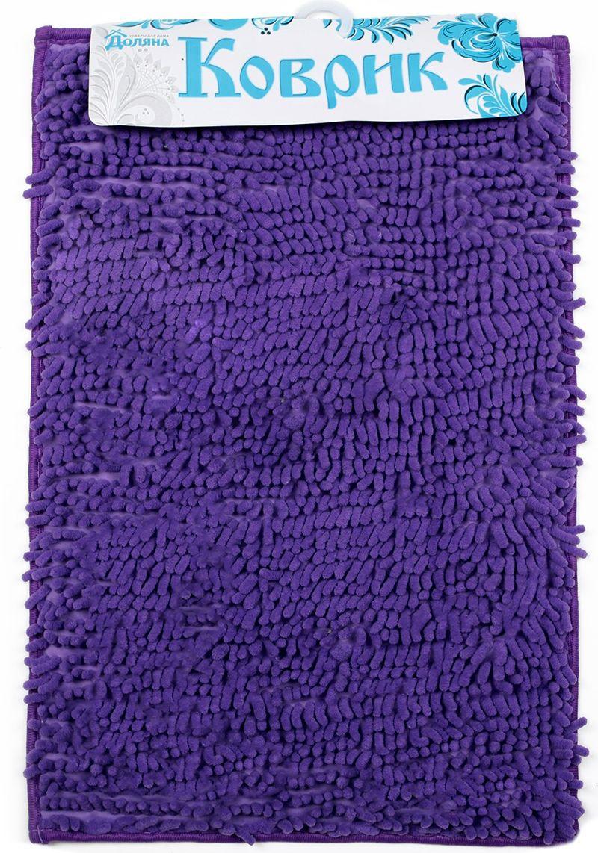 Коврик для ванной Доляна Букли длинные, 2987304, фиолетовый, 40 х 60 см