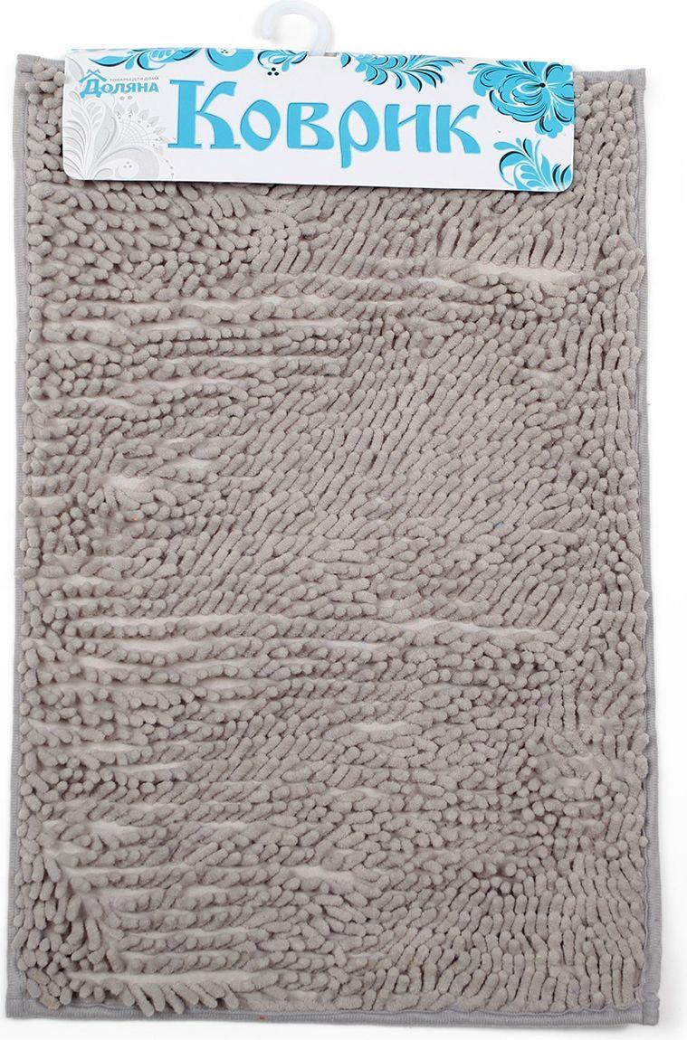 Коврик для ванной Доляна Букли длинные, 2987305, серый, 40 х 60 см