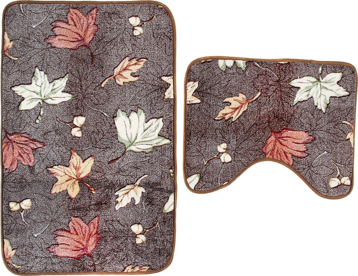 Набор ковриков для ванной Доляна Осенние листья, 851411, разноцветный, коричневый, 2 шт