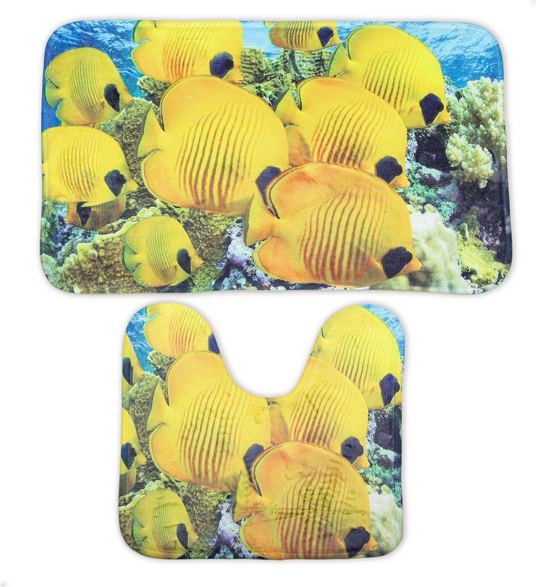"""Набор ковриков для ванной Доляна """"Подводный мир"""", 2989793, разноцветный, 2 шт"""